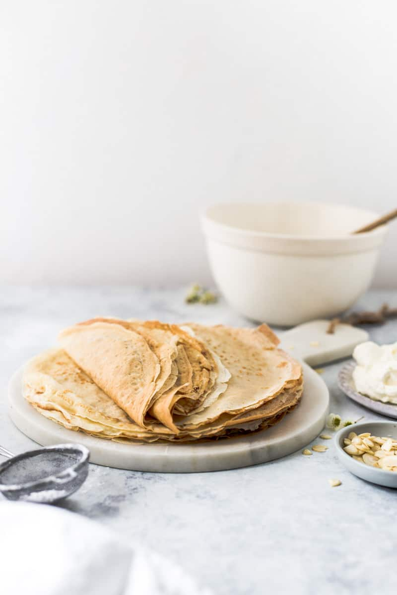 Crepes being made process image by Emma Duckworth Bakes