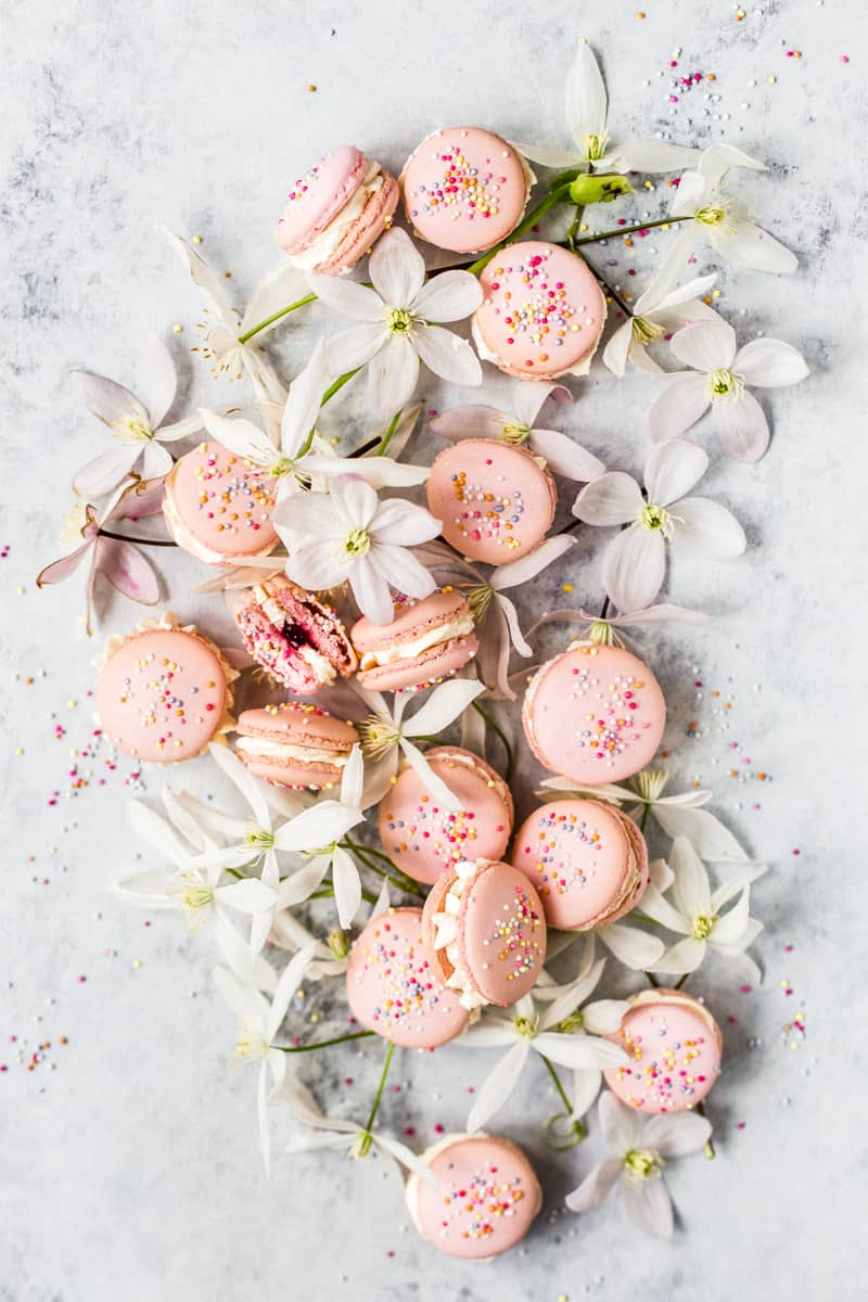 Raspberry Macarons filled with vanilla buttercream by Emma Duckworth Bakes