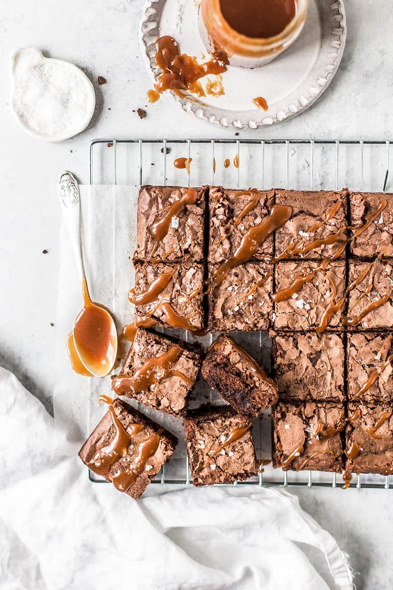 Salted Caramel Brownie with drizzled caramel sauce by Emma Duckworth Bakes