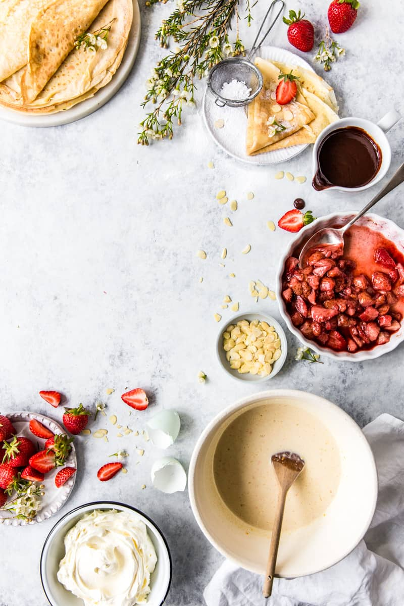 Strawberry Crepes Ingredients Shot by Emma Duckworth Bakes