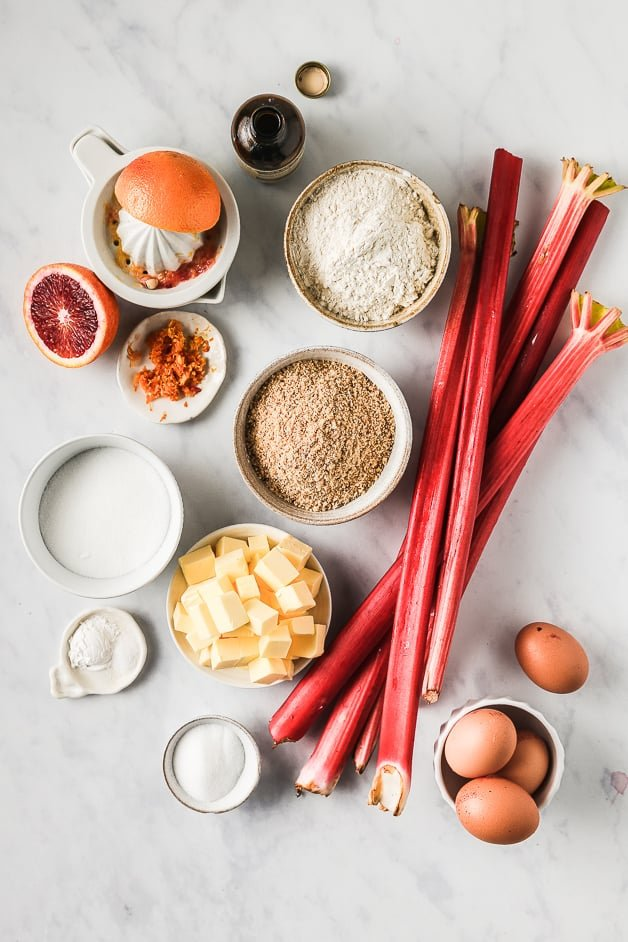 Ingredients for easy upside down cake with rhubarb and blood orange