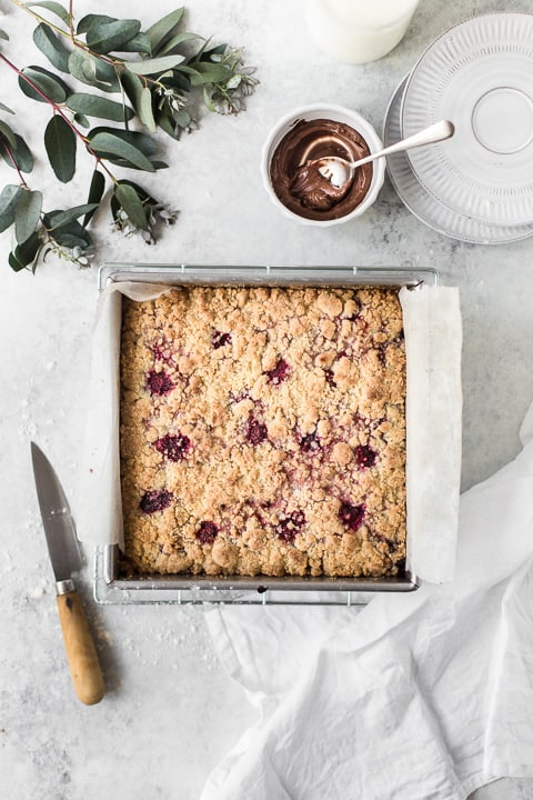 Chocolate Raspberry Crumble Bars by Emma Duckworth Bakes
