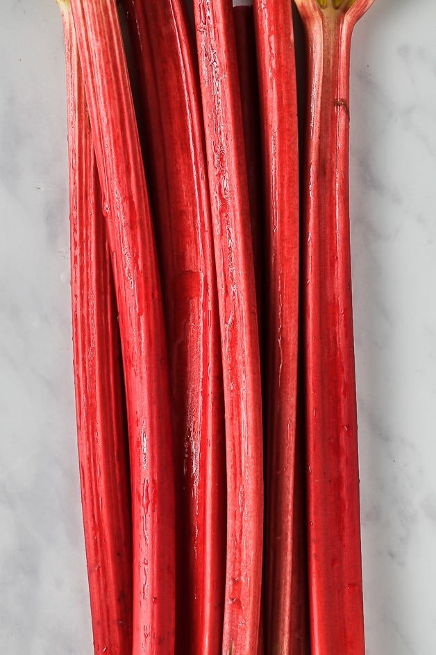 Close up of Forced Rhubarb on a bench top