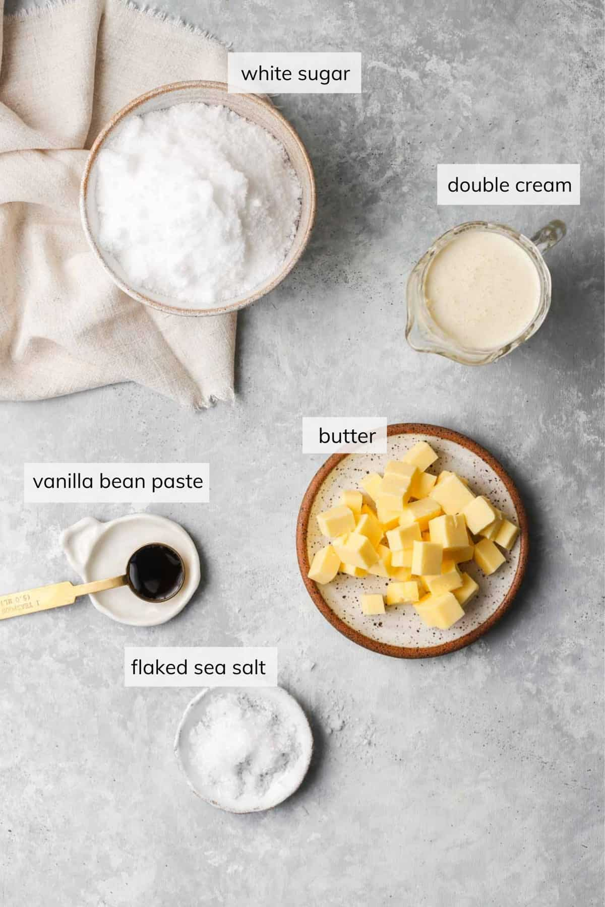 Individual ingredients required when making salted caramel sauce