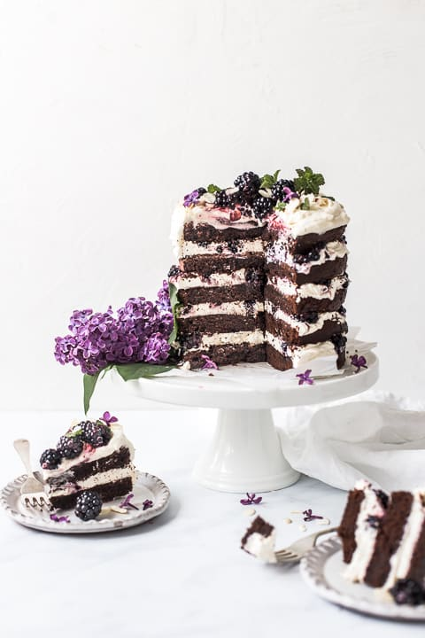 Chocolate Sour Cream Cake with Blackberries