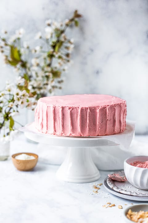 Pink frosted sponge cake