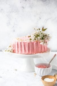 pink raspberry frosted cake