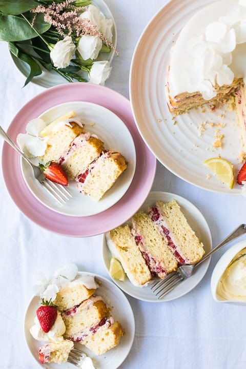 Slices of Strawberry Lemon Cake on plates
