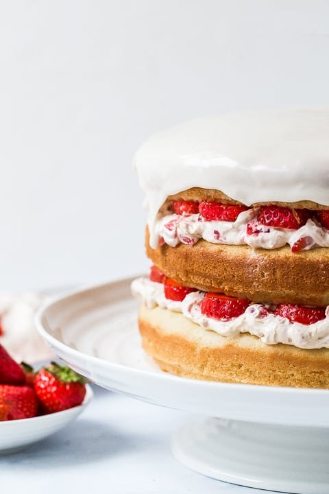 Strawberry Lemonade Cake closeup
