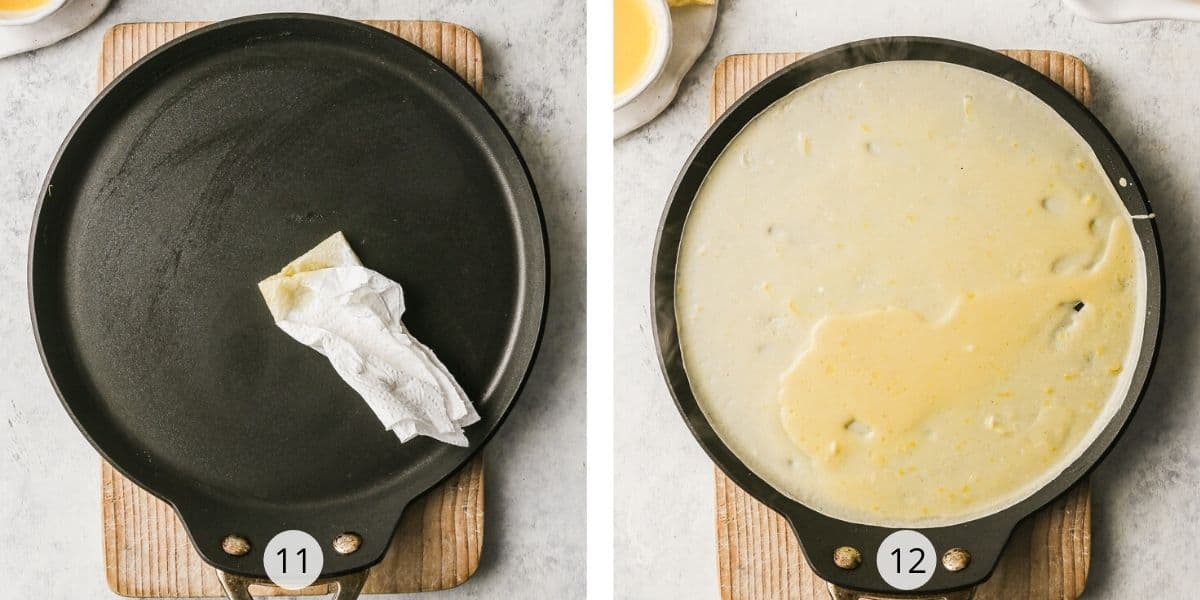 French crepes in a frying pan