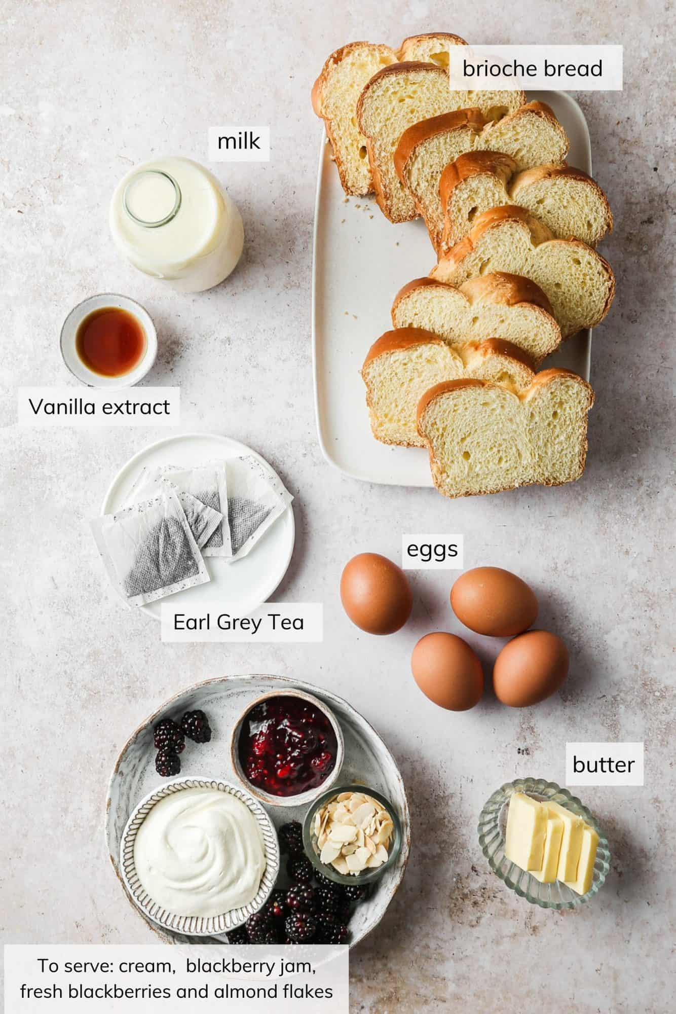 Ingredients needed for brioche french toast