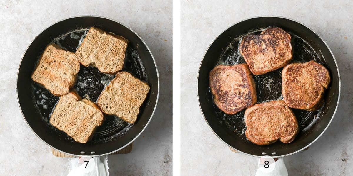 Frying Brioche French Toast Squares