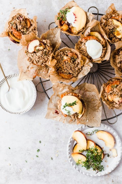 Peach Crumble Cups with yogurt topping