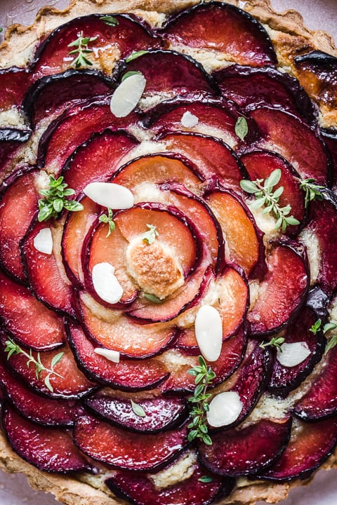 Plum Frangipane Tart close up