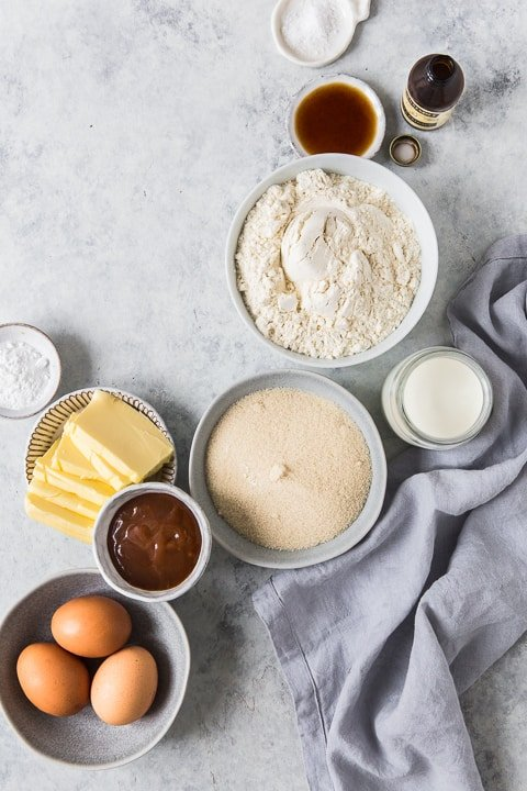 Ingredients for Caramel Sheet Cake with Browned Butter Buttercream