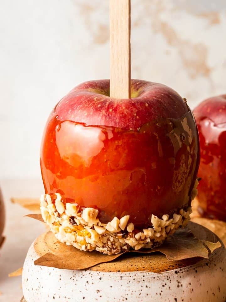 Close up of red toffee apple