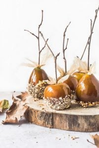 Apples and Pears carted in toffee and dipped in hazelnuts