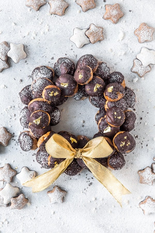 Chocolate Mocha Profiteroles Wreath