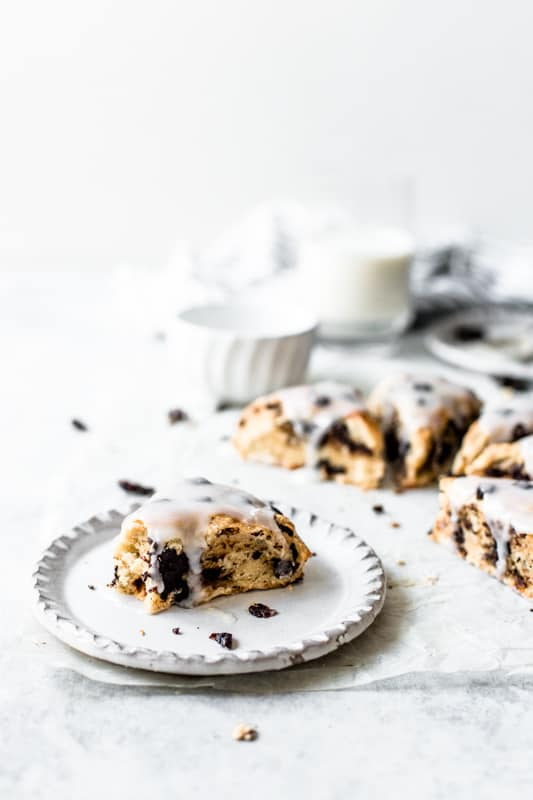 Glazed chocolate chip scones