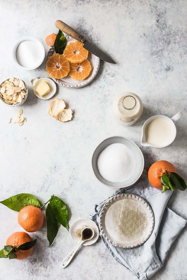 Ingredients needs for clementine panna cotta