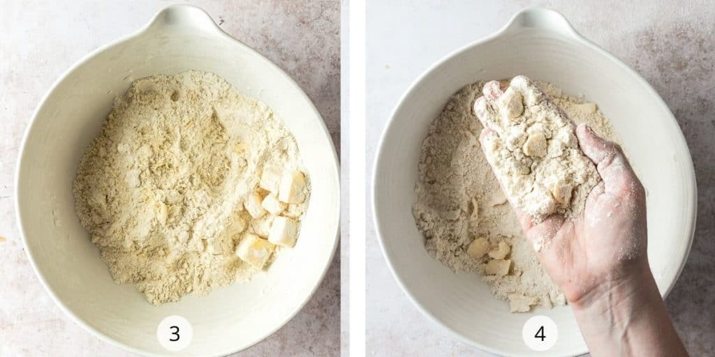 Process of making scones with chocolate chunks