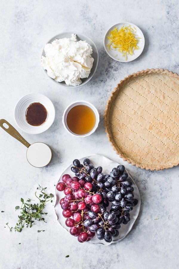 Ingredients for mascarpone tart