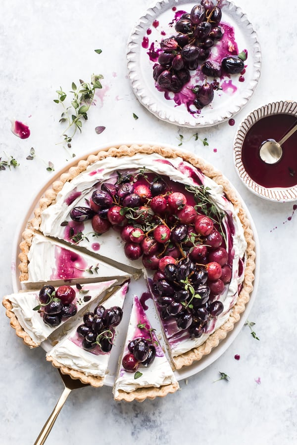 Roasted Grape Mascarpone Tart