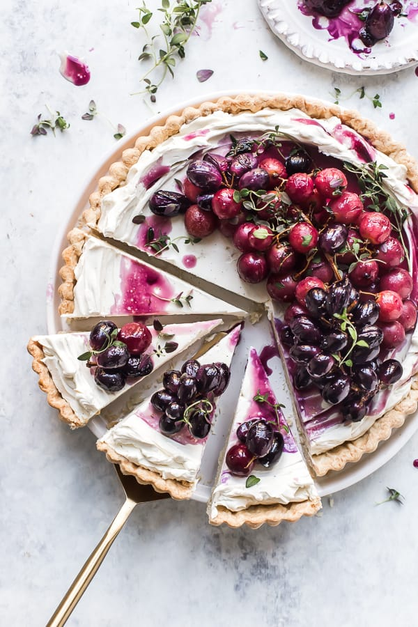 Roasted Grapes Mascarpone Tart