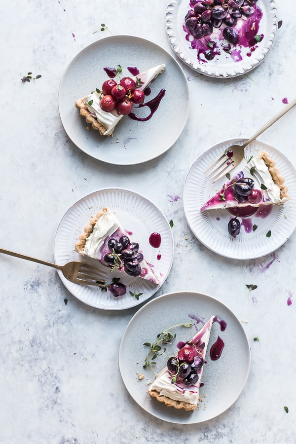 Plates with slices or tart