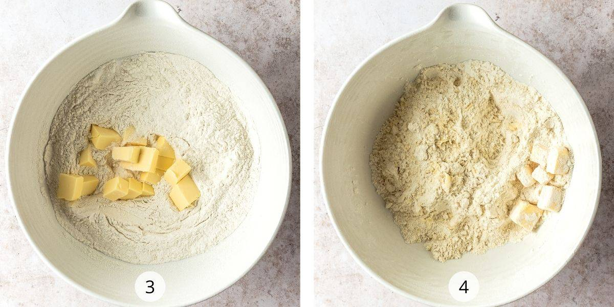 Process shot- add butter to dry ingredients and rub together