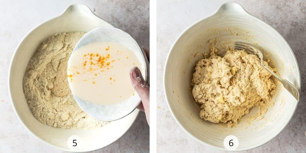 Scone making process - adding in wet ingredients and mixing to form a shaggy dough