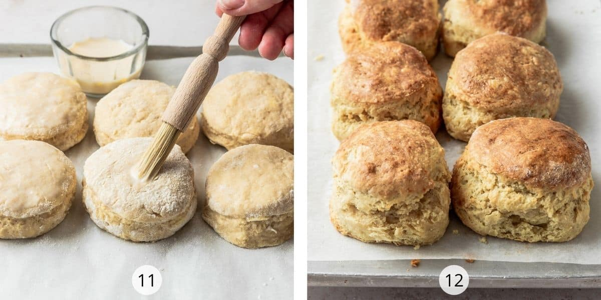 Process of making scones - brush tops with egg wash for a golden finish when baked.