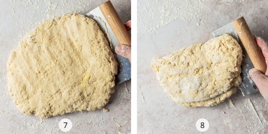 Process of making plain scones, fold dough into half and then quarters to create flaky scones.