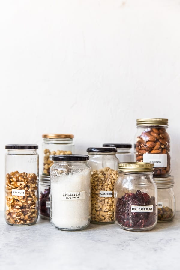 Dried fruit and nuts in glass jars