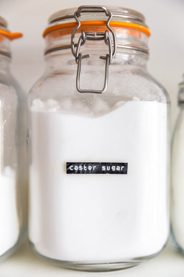 Closeup of labels for storage jars