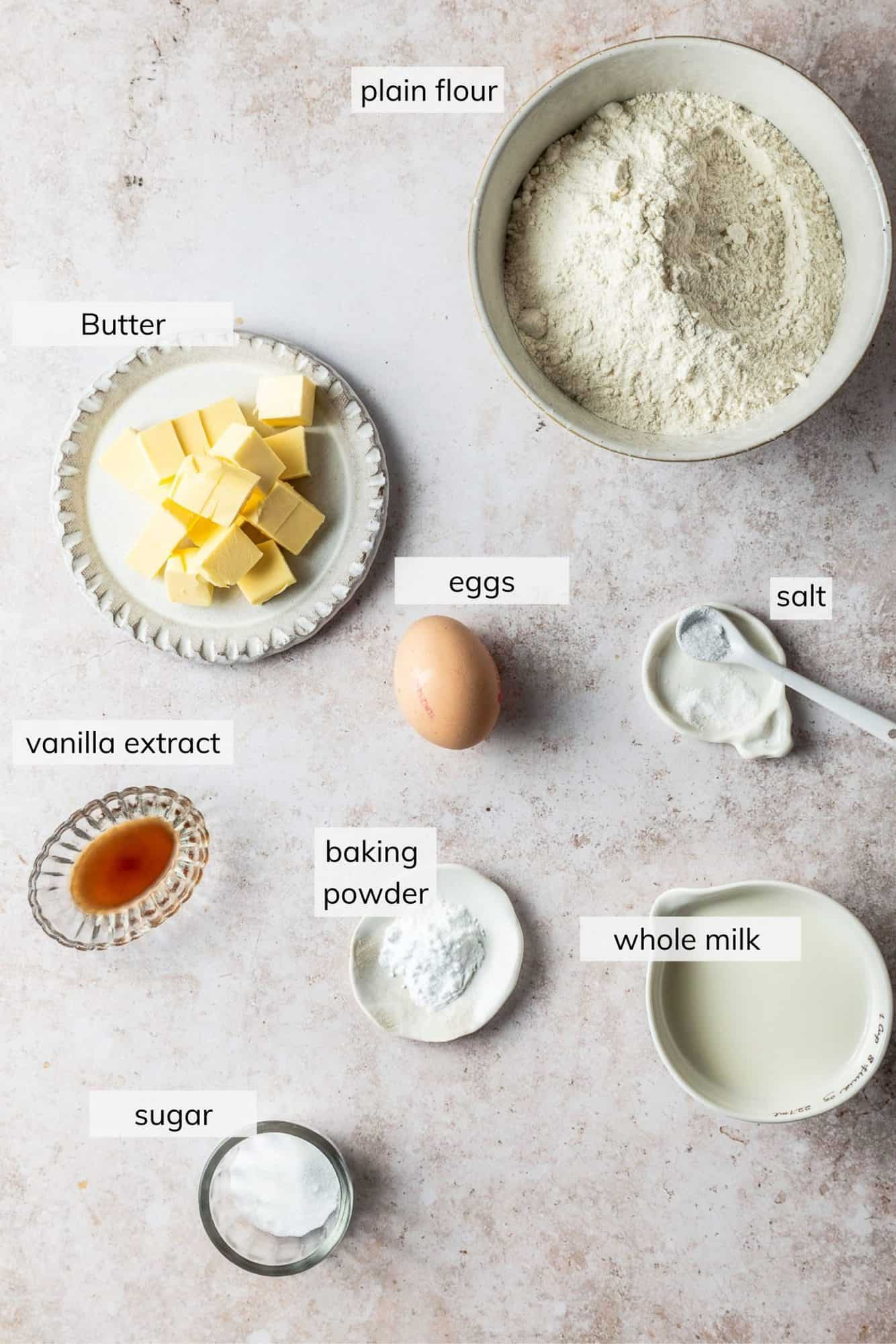 How to make plain scones - ingredients needed in bowls on a work surface