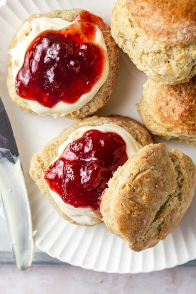 Image showing the result of making plain scones- top with cream and jam