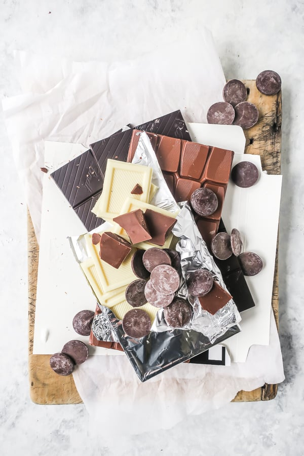 Various chocolates used in baking