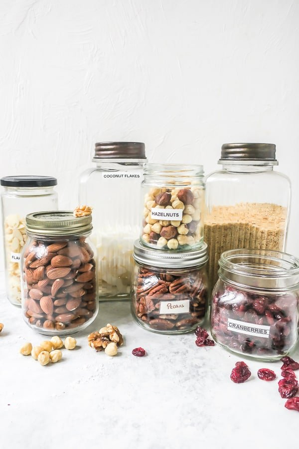 Variety of nuts in jars