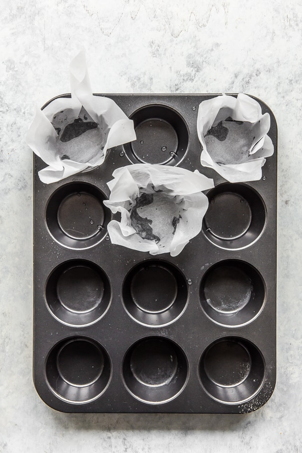 Muffin cases in their moulds