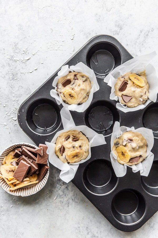 Filling muffin batter into muffin cases
