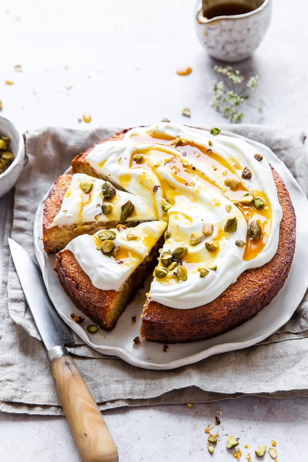 Almond Cake topped with yogurt
