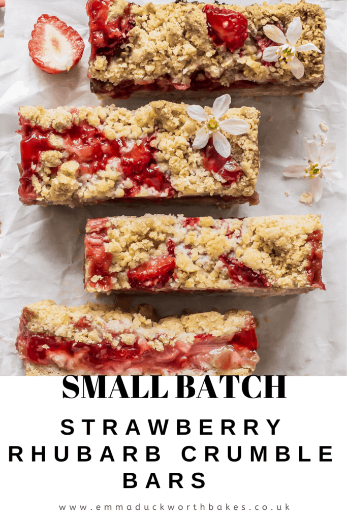 Strawberry Rhubarb Crumble Bars Pinterest Graphic