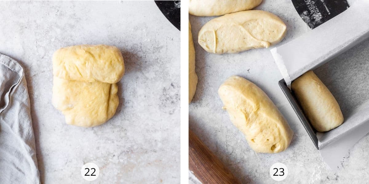 Enriched dough cut into pieces for individual shaping