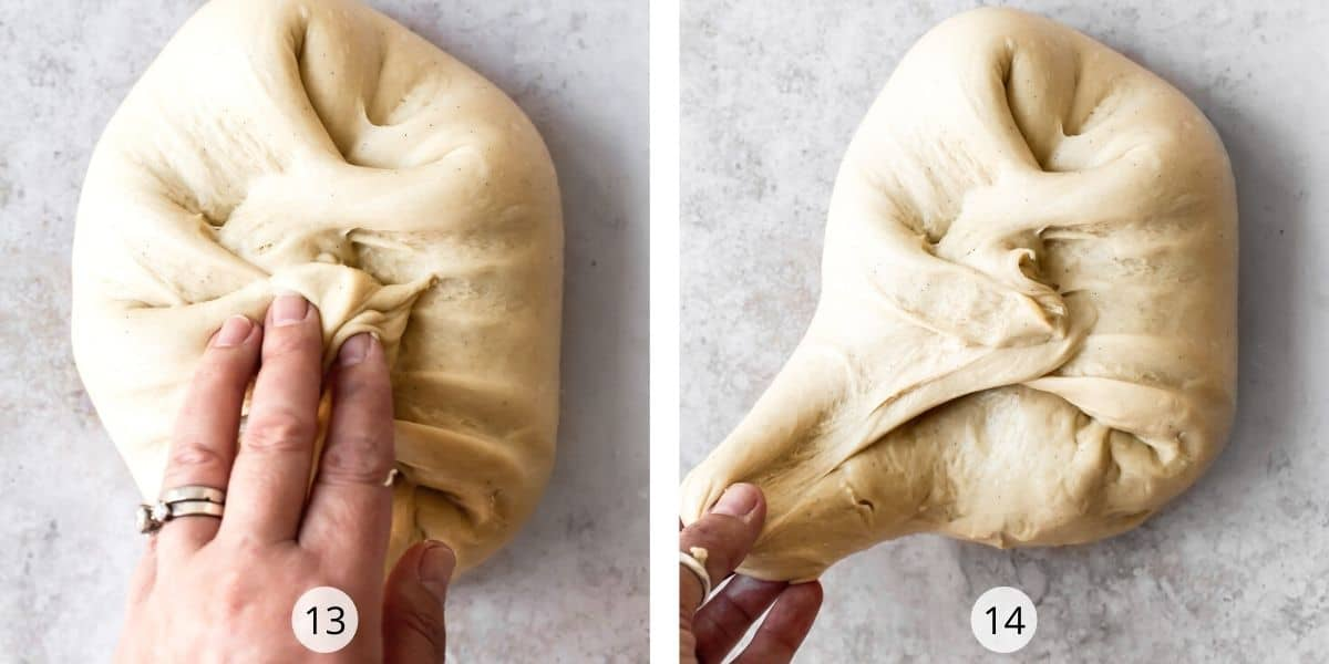 Stretch and fold to make a smooth dough ball