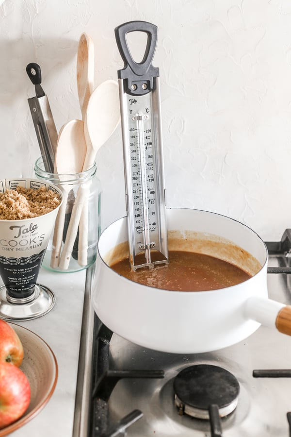 Candy thermometer in caramel