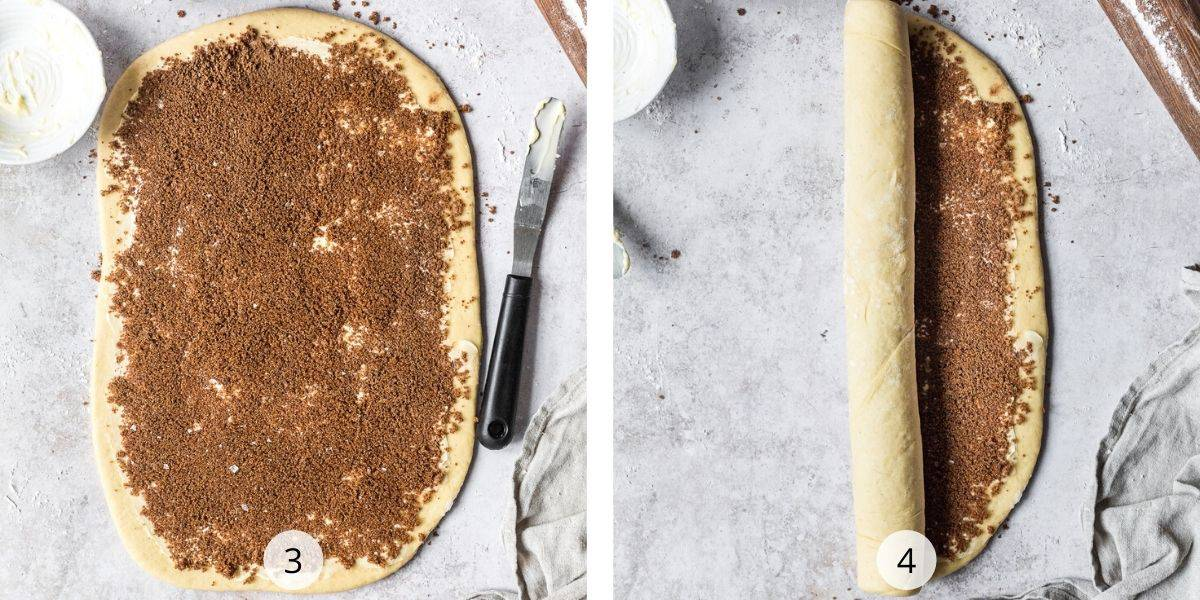 Process of making cinnamon rolls- roll the covered dough into a log