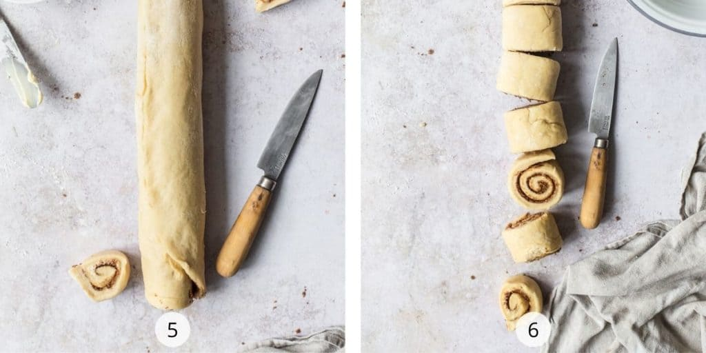 Process of making tasty cinnamon rolls - pinch the seam of the rolled log closed and cut log into 2 inch wide slices.