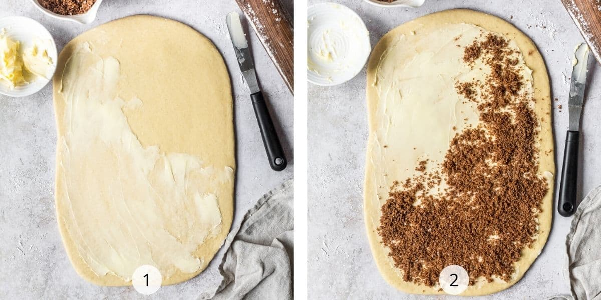 Process of making cinnamon rolls. Roll out the dough and cover in butter and brown sugar mixture