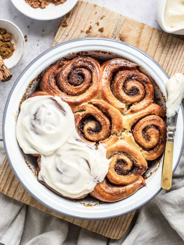 Homemade cinnamon rolls slathered in frosting